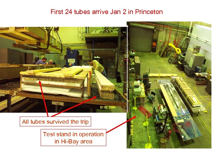 First 24 tubes arrive Jan 2 in Princeton All tubes survived the trip Test