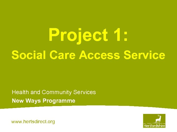 Project 1: Social Care Access Service Health and Community Services New Ways Programme www.