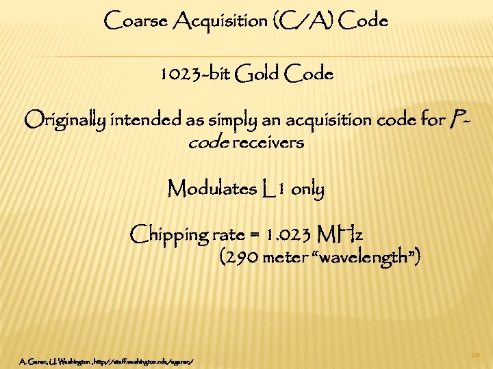 Coarse Acquisition (C/A) Code 1023 -bit Gold Code Originally intended as simply an acquisition