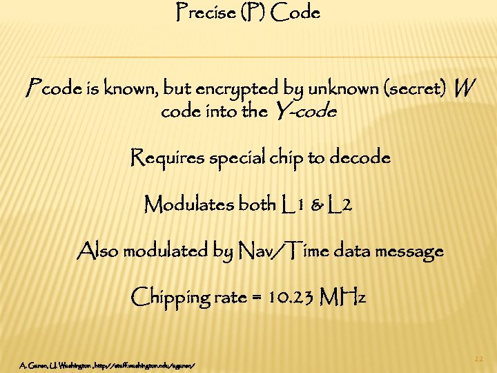 Precise (P) Code P code is known, but encrypted by unknown (secret) W code