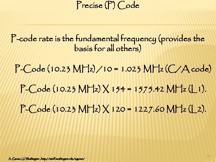 Precise (P) Code P-code rate is the fundamental frequency (provides the basis for all