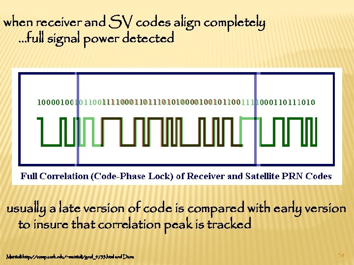 when receiver and SV codes align completely …full signal power detected usually a late