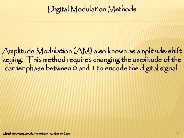 Digital Modulation Methods Amplitude Modulation (AM) also known as amplitude-shift keying. This method requires