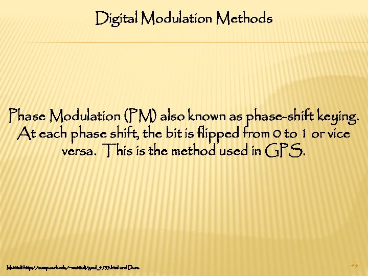 Digital Modulation Methods Phase Modulation (PM) also known as phase-shift keying. At each phase