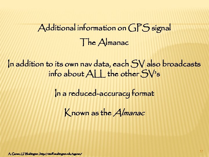 Additional information on GPS signal The Almanac In addition to its own nav data,