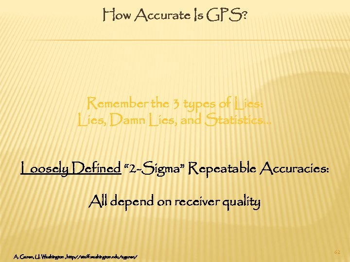 How Accurate Is GPS? Remember the 3 types of Lies: Lies, Damn Lies, and