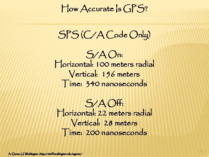 How Accurate Is GPS? SPS (C/A Code Only) S/A On: Horizontal: 100 meters radial