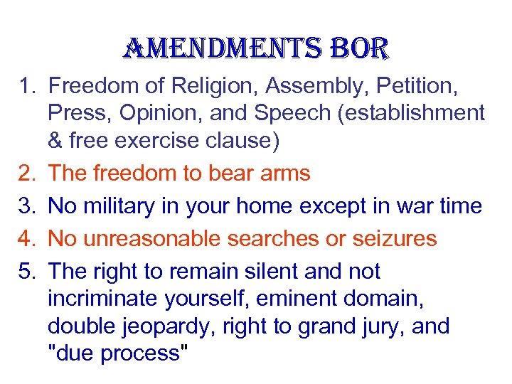 AMENDMENTS Bo. R 1. Freedom of Religion, Assembly, Petition, Press, Opinion, and Speech (establishment
