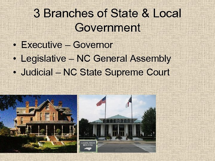 3 Branches of State & Local Government • Executive – Governor • Legislative –