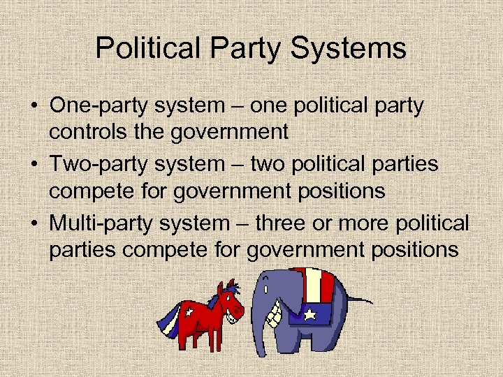 Political Party Systems • One-party system – one political party controls the government •