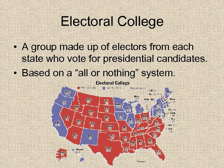 Electoral College • A group made up of electors from each state who vote