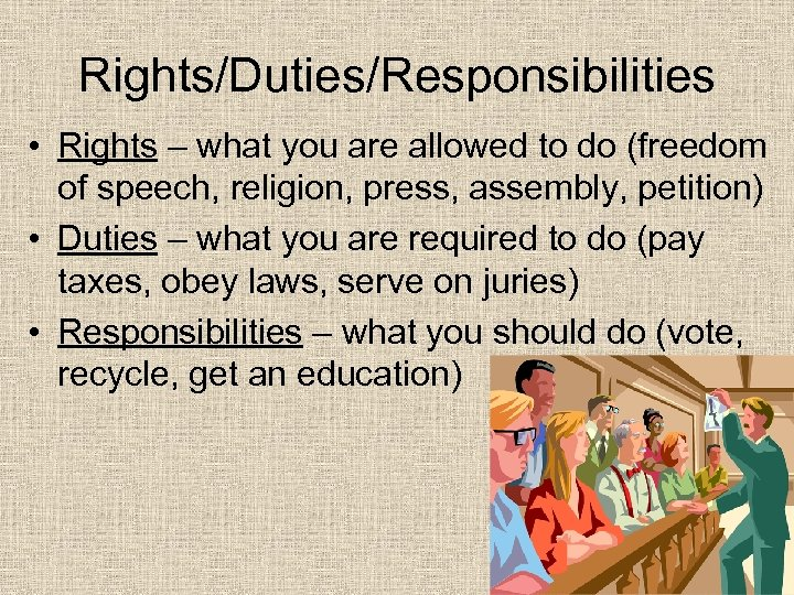 Rights/Duties/Responsibilities • Rights – what you are allowed to do (freedom of speech, religion,