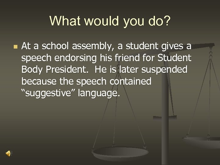 What would you do? n At a school assembly, a student gives a speech