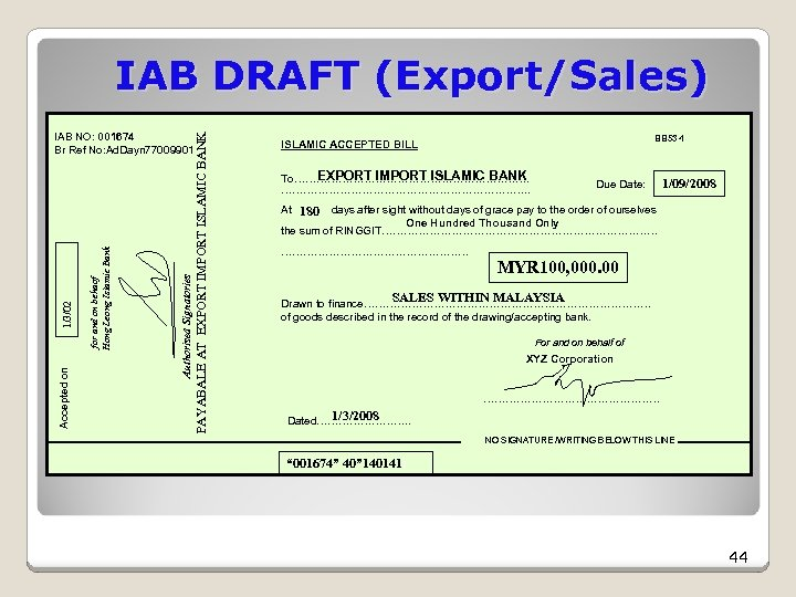 IAB DRAFT (Export/Sales) PAYABALE AT EXPORT IMPORT ISLAMIC BANK for and on behaof Hong
