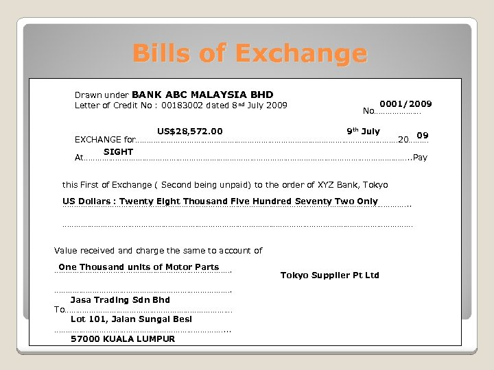 Bills of Exchange Drawn under BANK ABC MALAYSIA BHD Letter of Credit No :