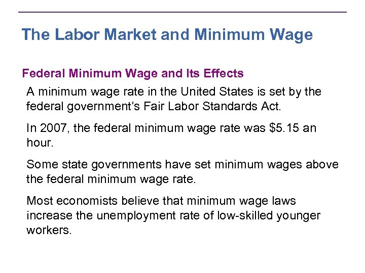 a look at minimum wage legislation and its effects Increasing the minimum wage would have two principal effects on low-wage workers most of them would receive higher pay that would increase their family's income, and some of those families would see their income rise above the federal poverty threshold.
