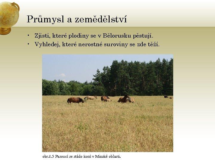 Průmysl a zemědělství • Zjisti, které plodiny se v Bělorusku pěstují. • Vyhledej, které