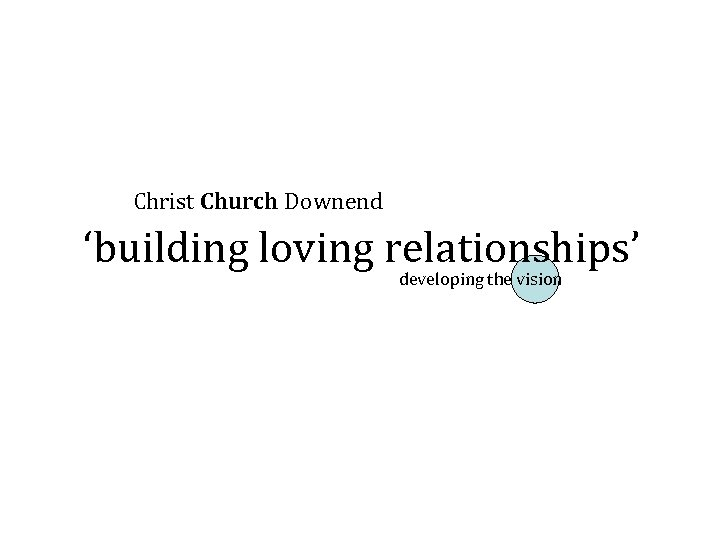 Christ Church Downend 'building loving relationships' developing the vision