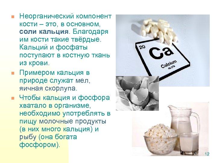 n n n Неорганический компонент кости – это, в основном, соли кальция. Благодаря им