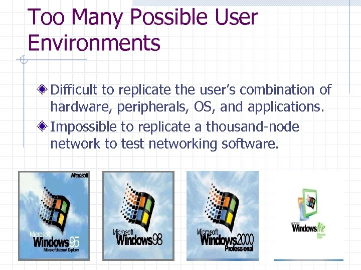 Too Many Possible User Environments Difficult to replicate the user's combination of hardware, peripherals,