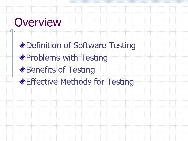 Overview Definition of Software Testing Problems with Testing Benefits of Testing Effective Methods for