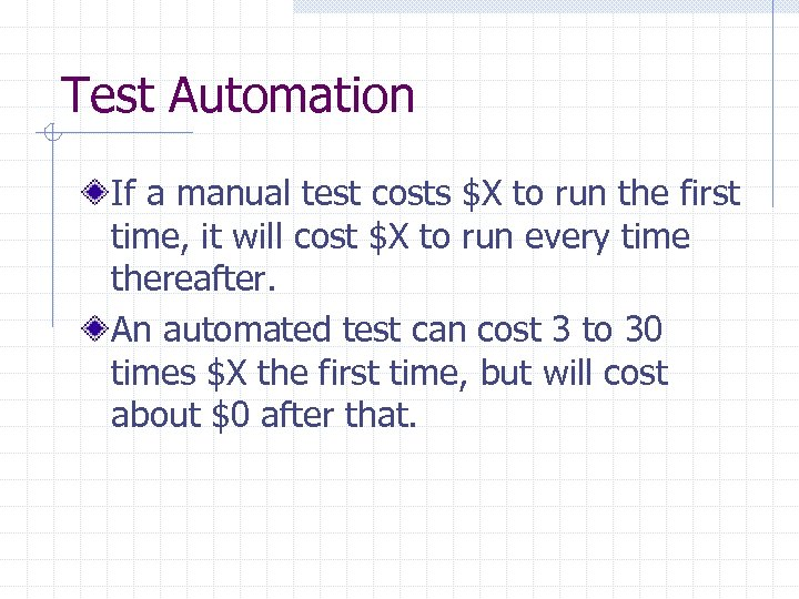 Test Automation If a manual test costs $X to run the first time, it