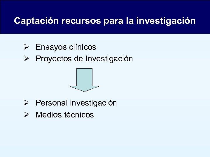 Captación recursos para la investigación Ensayos clínicos Proyectos de Investigación Personal investigación Medios técnicos