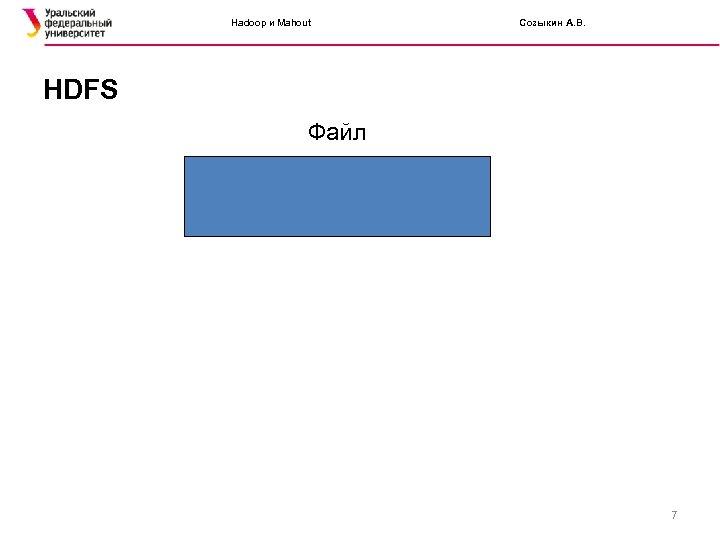 Hadoop и Mahout Созыкин А. В. HDFS Файл 7