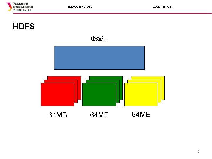 Hadoop и Mahout Созыкин А. В. HDFS Файл 64 МБ 9