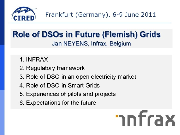 Frankfurt (Germany), 6 -9 June 2011 Role of DSOs in Future (Flemish) Grids Jan