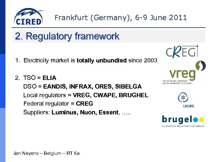 Frankfurt (Germany), 6 -9 June 2011 2. Regulatory framework 1. Electricity market is totally