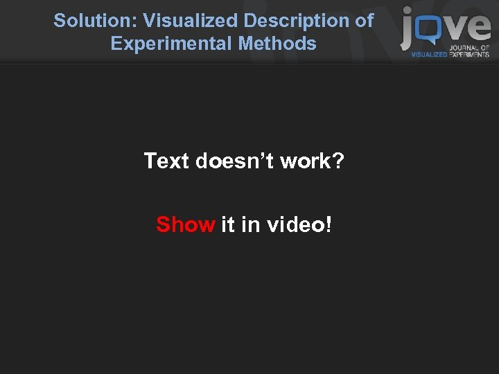 Solution: Visualized Description of Experimental Methods Text doesn't work? Show it in video!