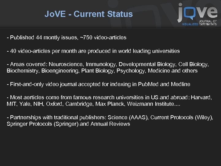 Jo. VE - Current Status - Published 44 montly issues, ~750 video-articles - 40