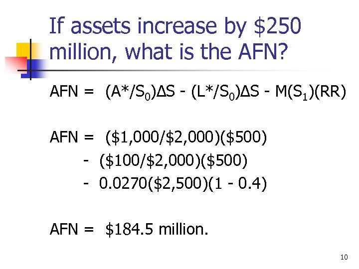 If assets increase by $250 million, what is the AFN? AFN = (A*/S 0)∆S