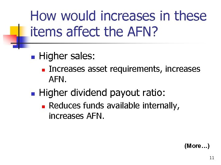 How would increases in these items affect the AFN? n Higher sales: n n
