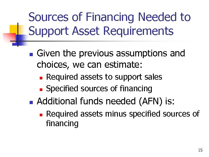 Sources of Financing Needed to Support Asset Requirements n Given the previous assumptions and