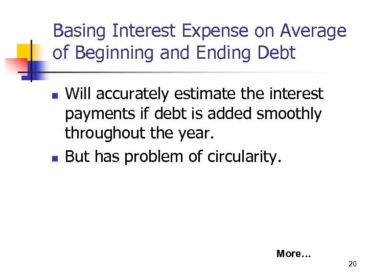 Basing Interest Expense on Average of Beginning and Ending Debt n n Will accurately