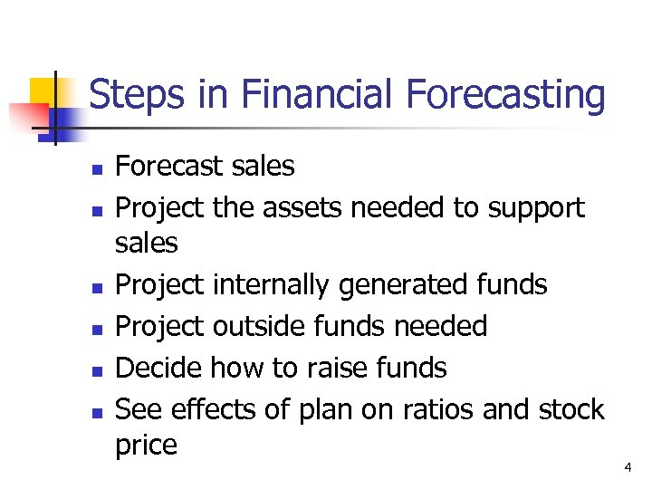 Steps in Financial Forecasting n n n Forecast sales Project the assets needed to