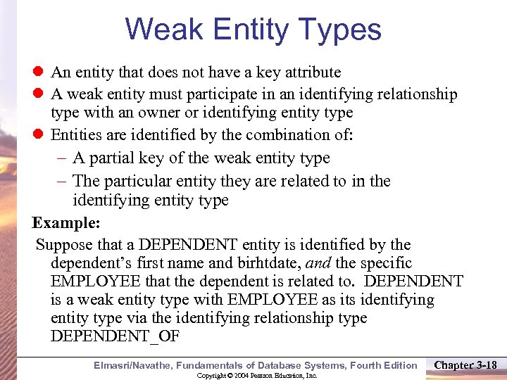 Weak Entity Types An entity that does not have a key attribute A weak