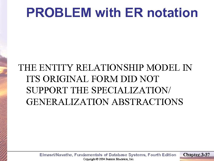 PROBLEM with ER notation THE ENTITY RELATIONSHIP MODEL IN ITS ORIGINAL FORM DID NOT