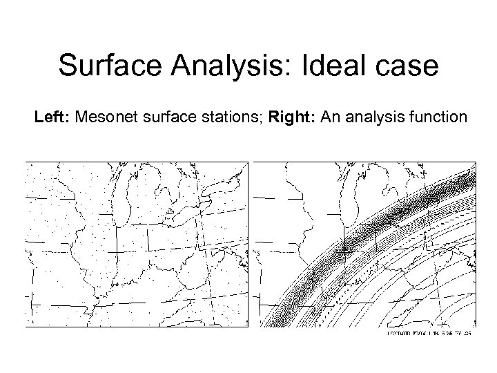 Surface Analysis: Ideal case Left: Mesonet surface stations; Right: An analysis function
