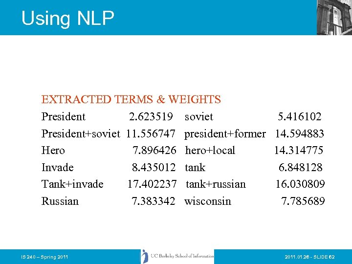 Using NLP EXTRACTED TERMS & WEIGHTS President 2. 623519 soviet President+soviet 11. 556747 president+former