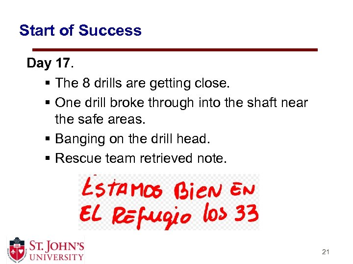 Start of Success Day 17. § The 8 drills are getting close. § One
