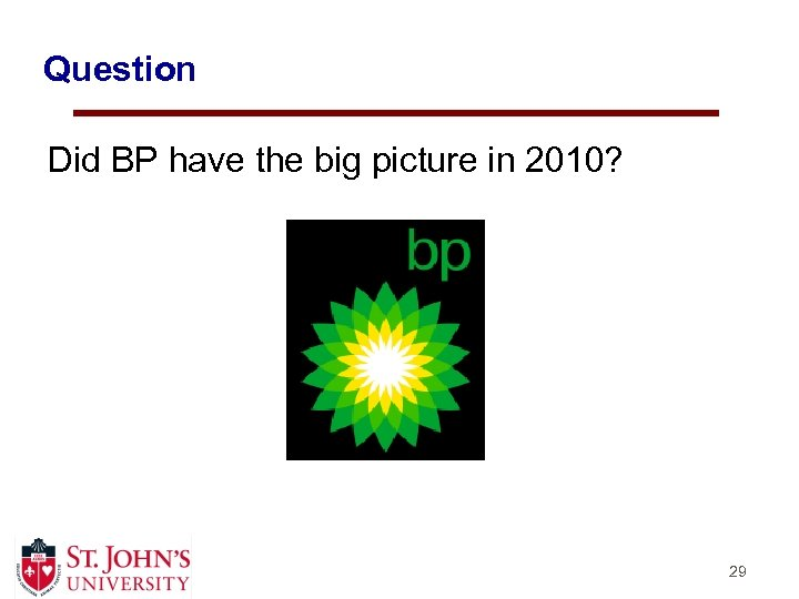 Question Did BP have the big picture in 2010? 29