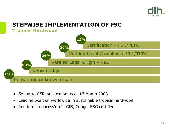 STEPWISE IMPLEMENTATION OF FSC Tropical Hardwood 12% Certification – FSC/PEFC 20% Verified Legal Compliance