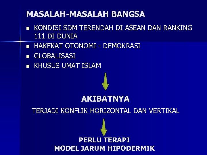 MASALAH-MASALAH BANGSA n n KONDISI SDM TERENDAH DI ASEAN DAN RANKING 111 DI DUNIA