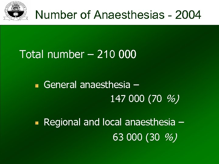 Number of Anaesthesias - 2004 Total number – 210 000 General anaesthesia – 147