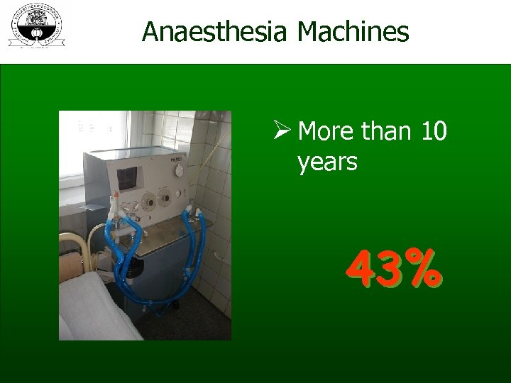 Anaesthesia Machines Ø More than 10 years 43%