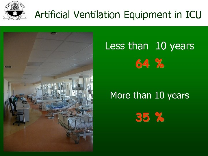 Artificial Ventilation Equipment in ICU Less than 10 years 64 % More than 10