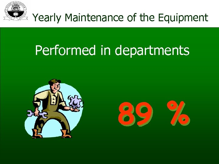 Yearly Maintenance of the Equipment Performed in departments 89 %